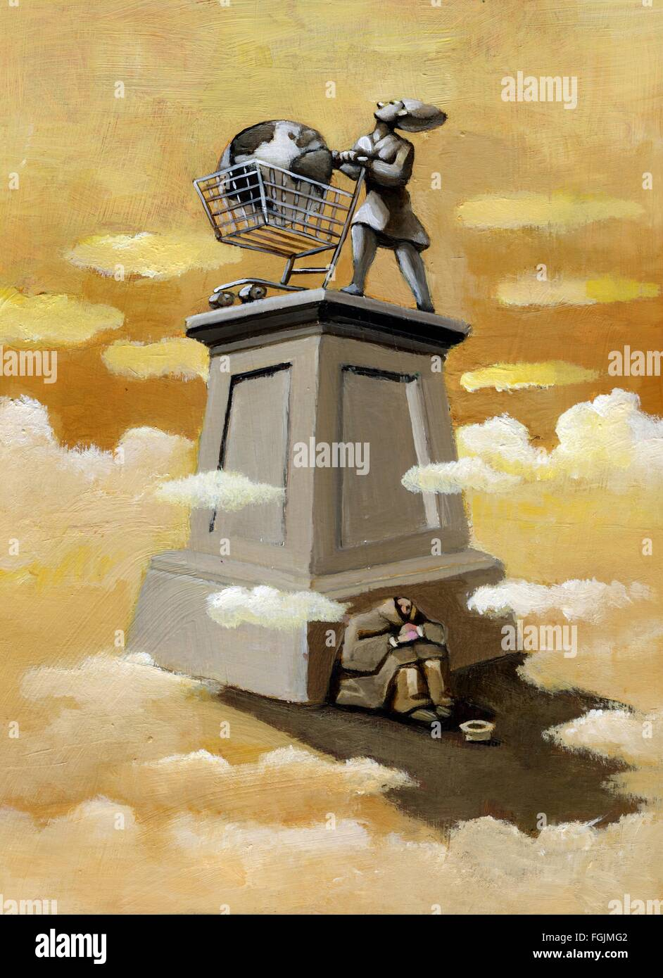 A man makes charity in the shadow of a monument to consumerism - Stock Image
