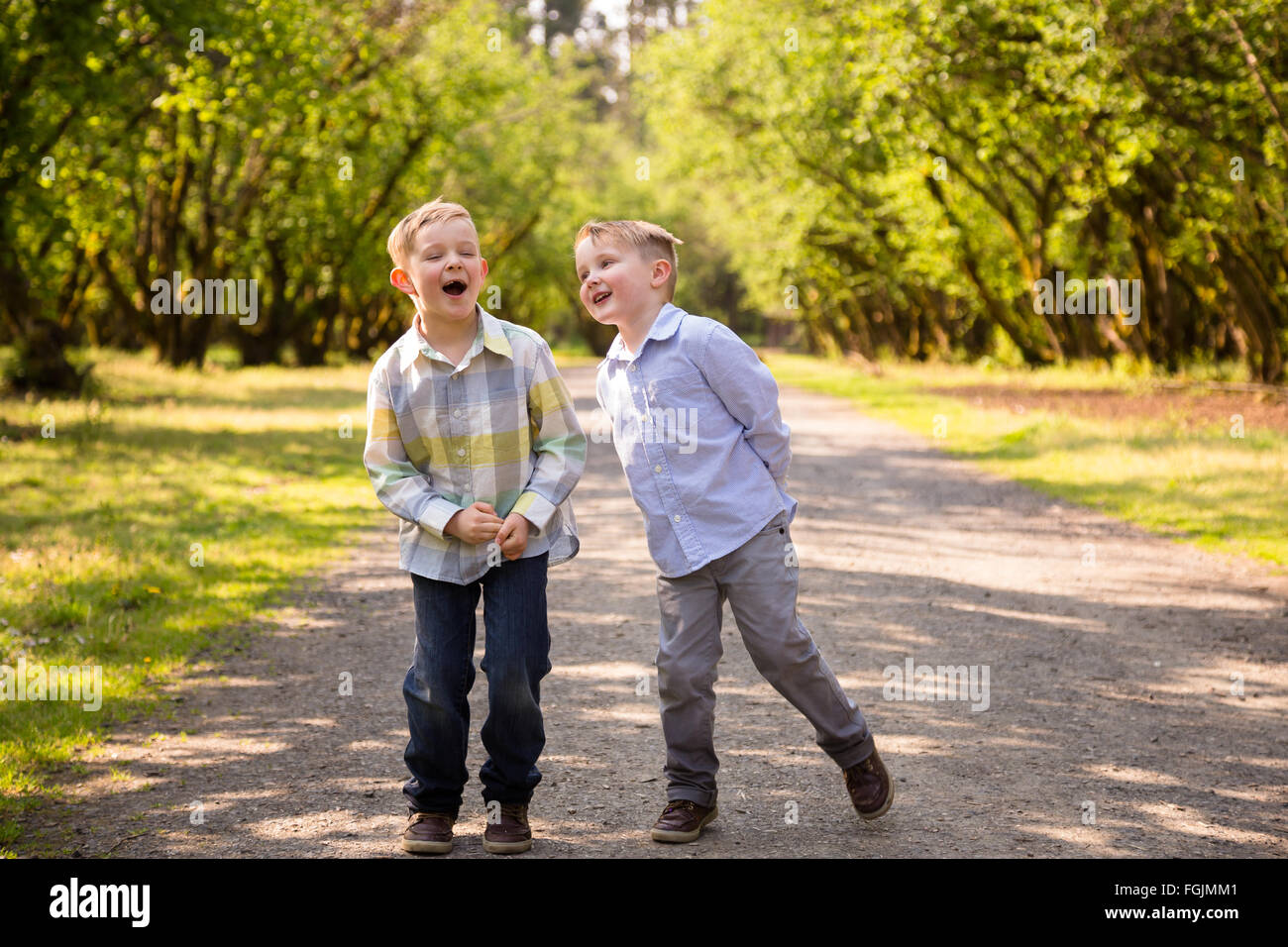 Two brothers together outdoors in a lifestyle portrait with natural light. - Stock Image