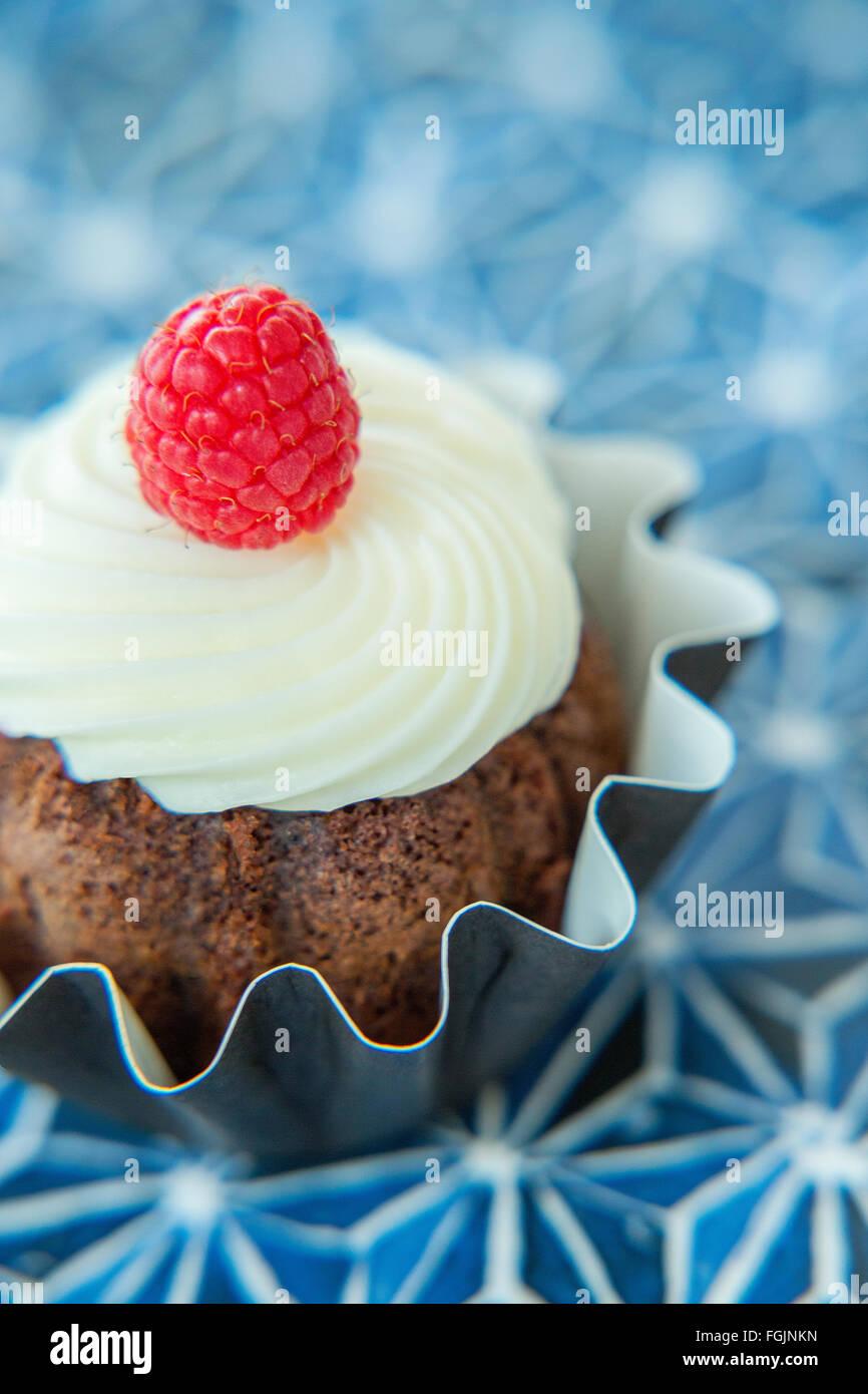 Chocolate cupcake with raspberry - Stock Image