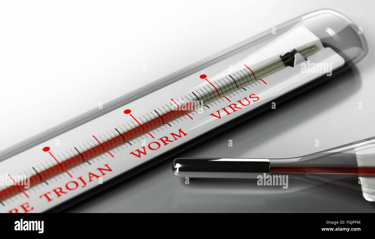 Thermometer with the text virus, worm and trojan over grey background. Concept image for illustration of infected - Stock Image