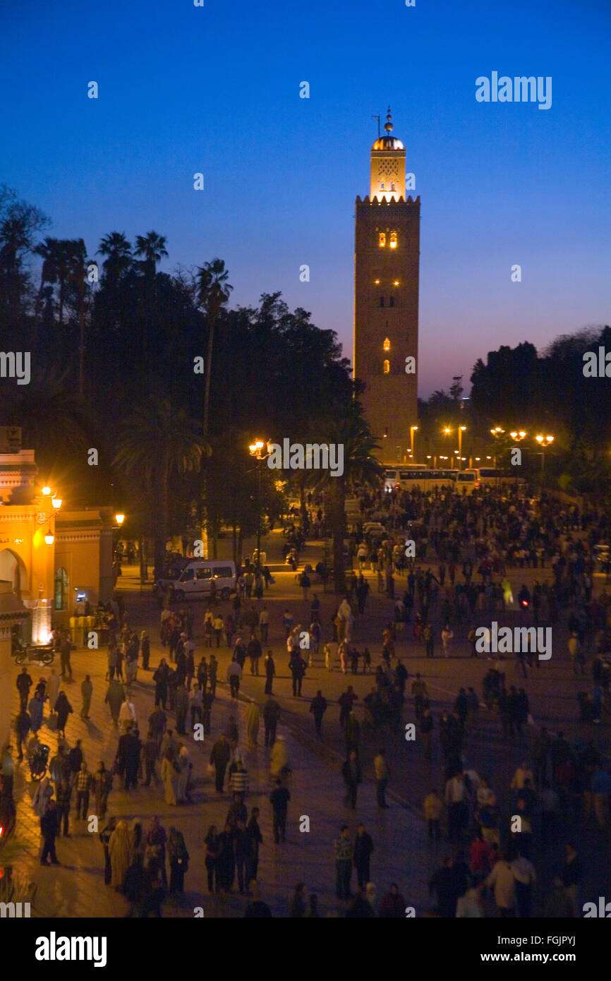 The La Koutoubia Mosque at Jemaa El Fna Square in Marrakech, Morocco - Stock Image