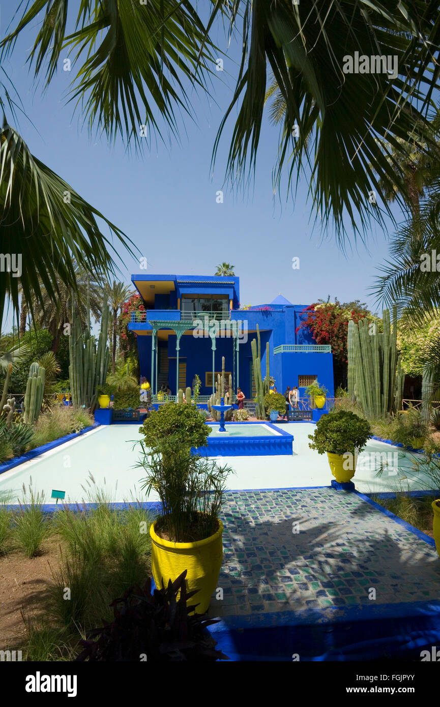 The beautiful Jardins Majorelle  in Marrakech Morocco - Stock Image