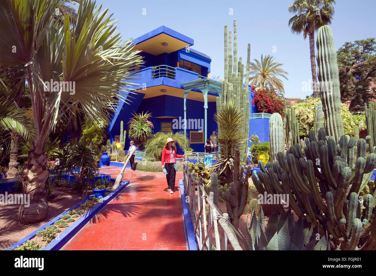 The beautiful 'Jardins Majorelle' in Marrakech Morocco - Stock Image