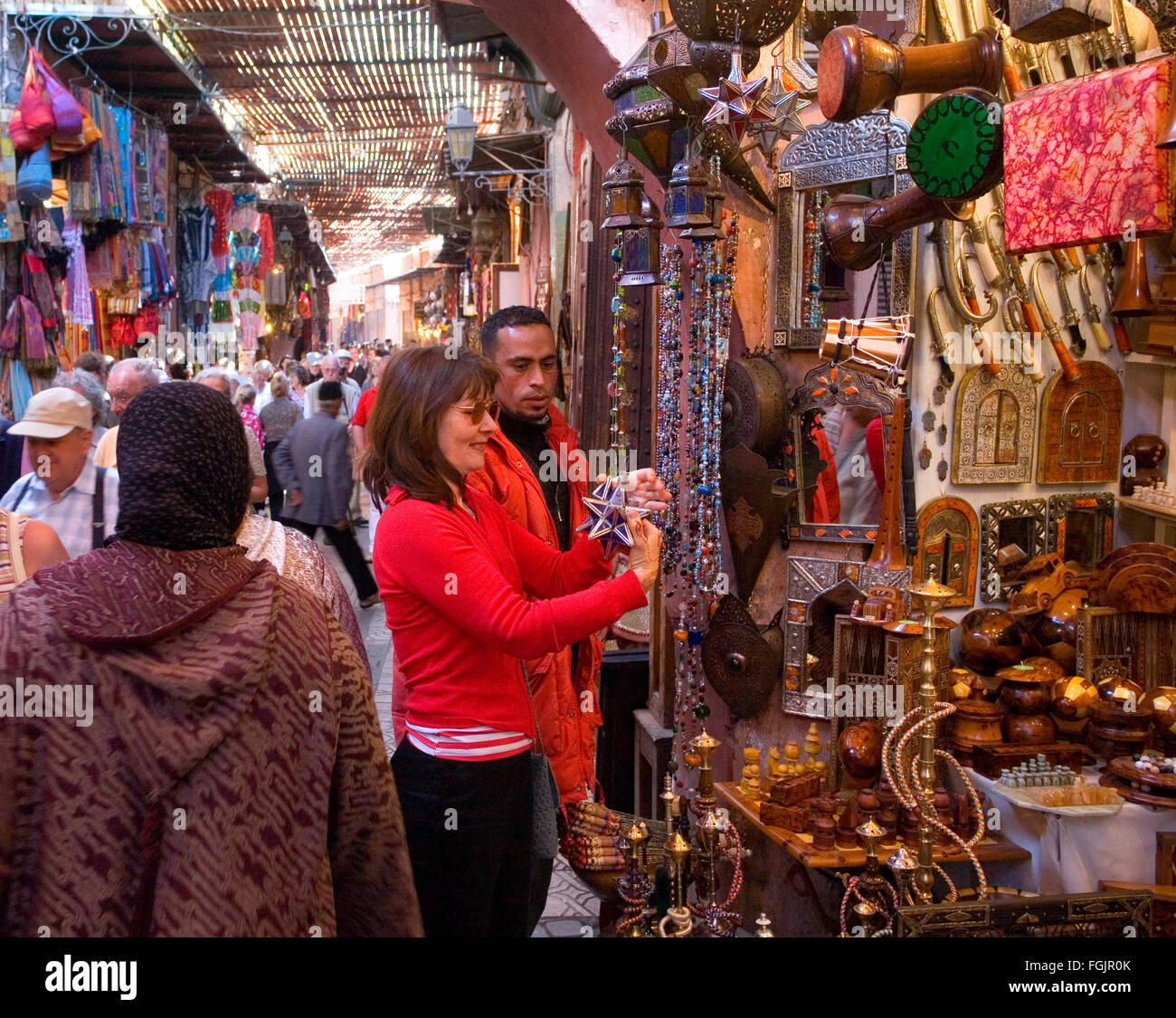 The Souk  Marrakech . Morocco - Stock Image