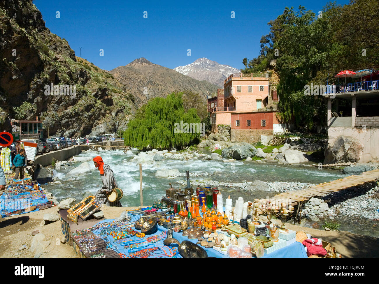 Snow on the mountains at the village of Setti Fatma, springtime in the Ourika Valley, Morocco near Marrakech - Stock Image