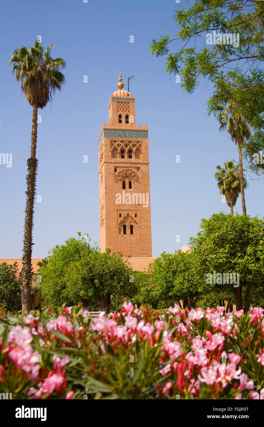 La Koutoubia Mosque in Marrakech . Morocco - Stock Image