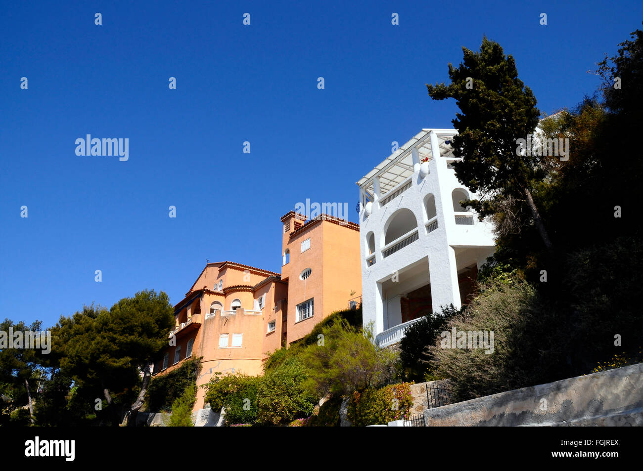 Orange and white homes in Provence, Bandol, France Stock Photo