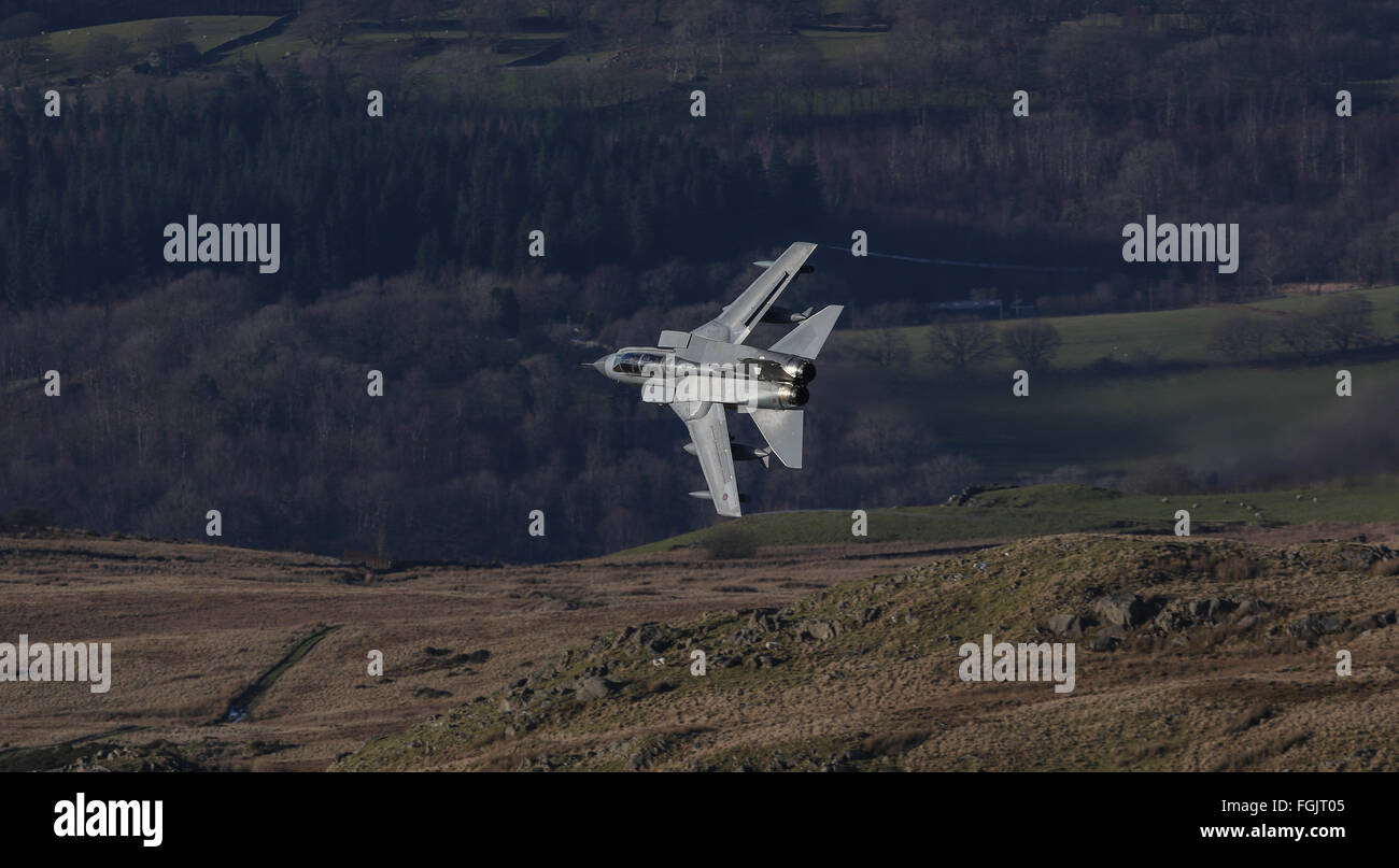 RAF Panavia Tornado GR4 approaching the Mach Loop in North Wales Stock Photo