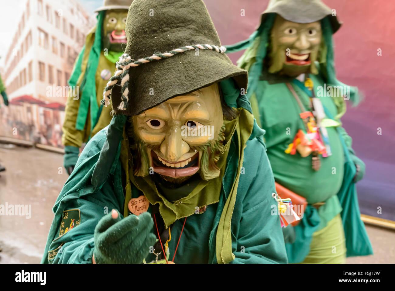 frightening mask at Carnival parade, Stuttgart - Stock Image