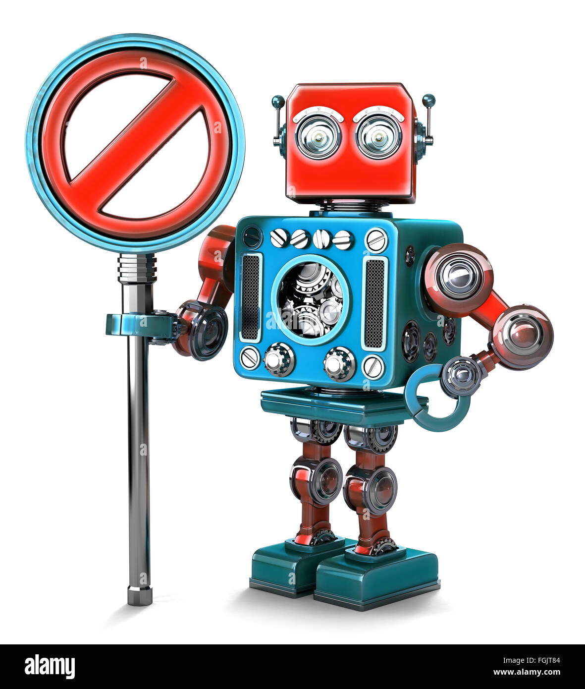 Retro Robot with NO ENTRY sign. Isolated over white. Contains clipping path - Stock Image