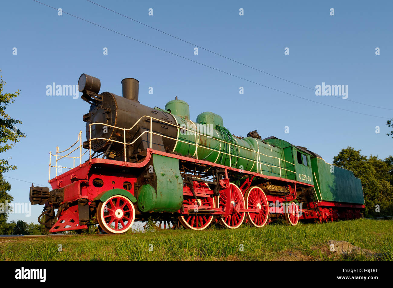 The Railway and Communications Museum exhibit in Haapsalu, the old steam locomotive. Haapsalu, Estonia - Stock Image