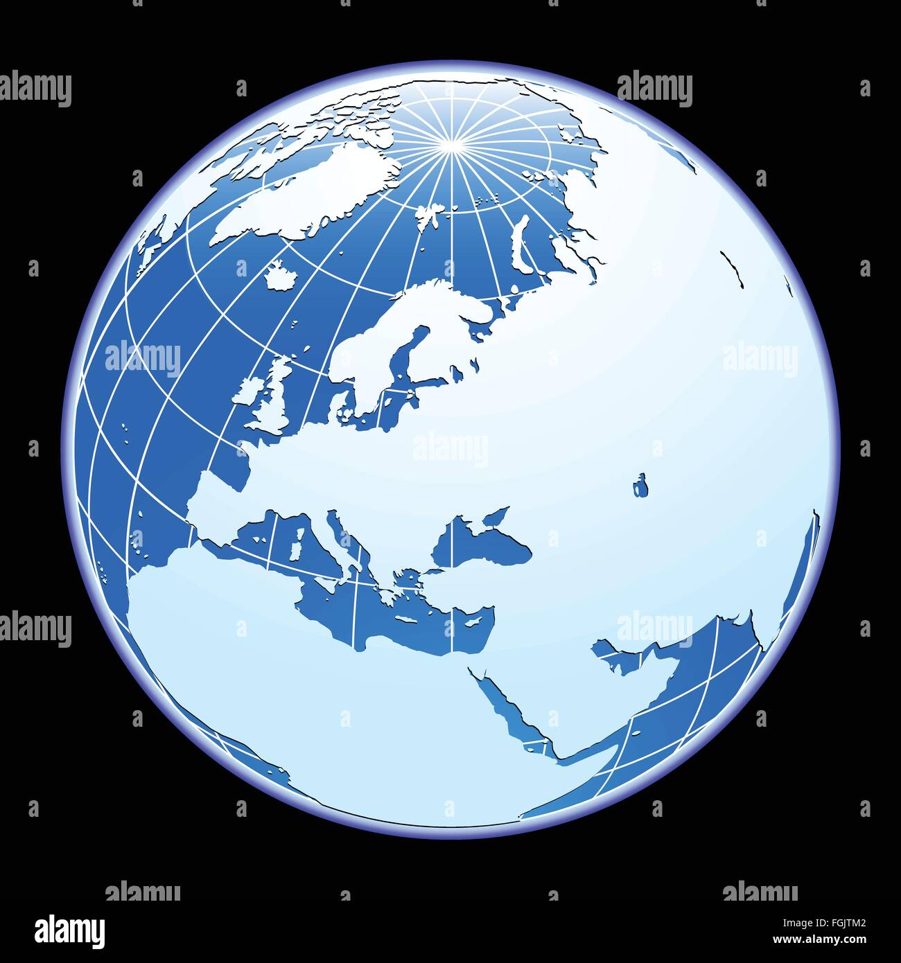 Blue vector globe. Eurasia. - Stock Vector