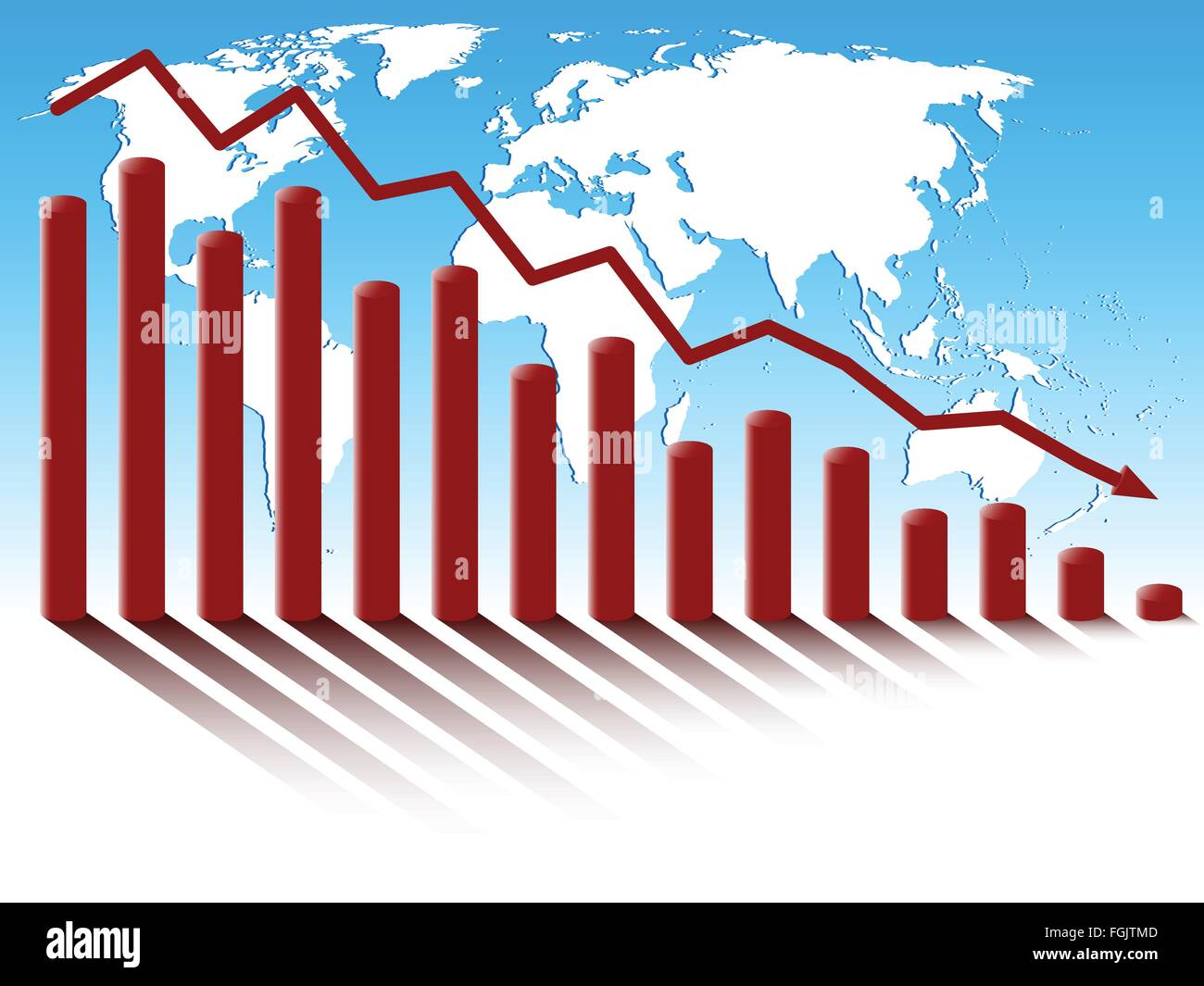 Business diagram of decrease on the background of world map. - Stock Vector