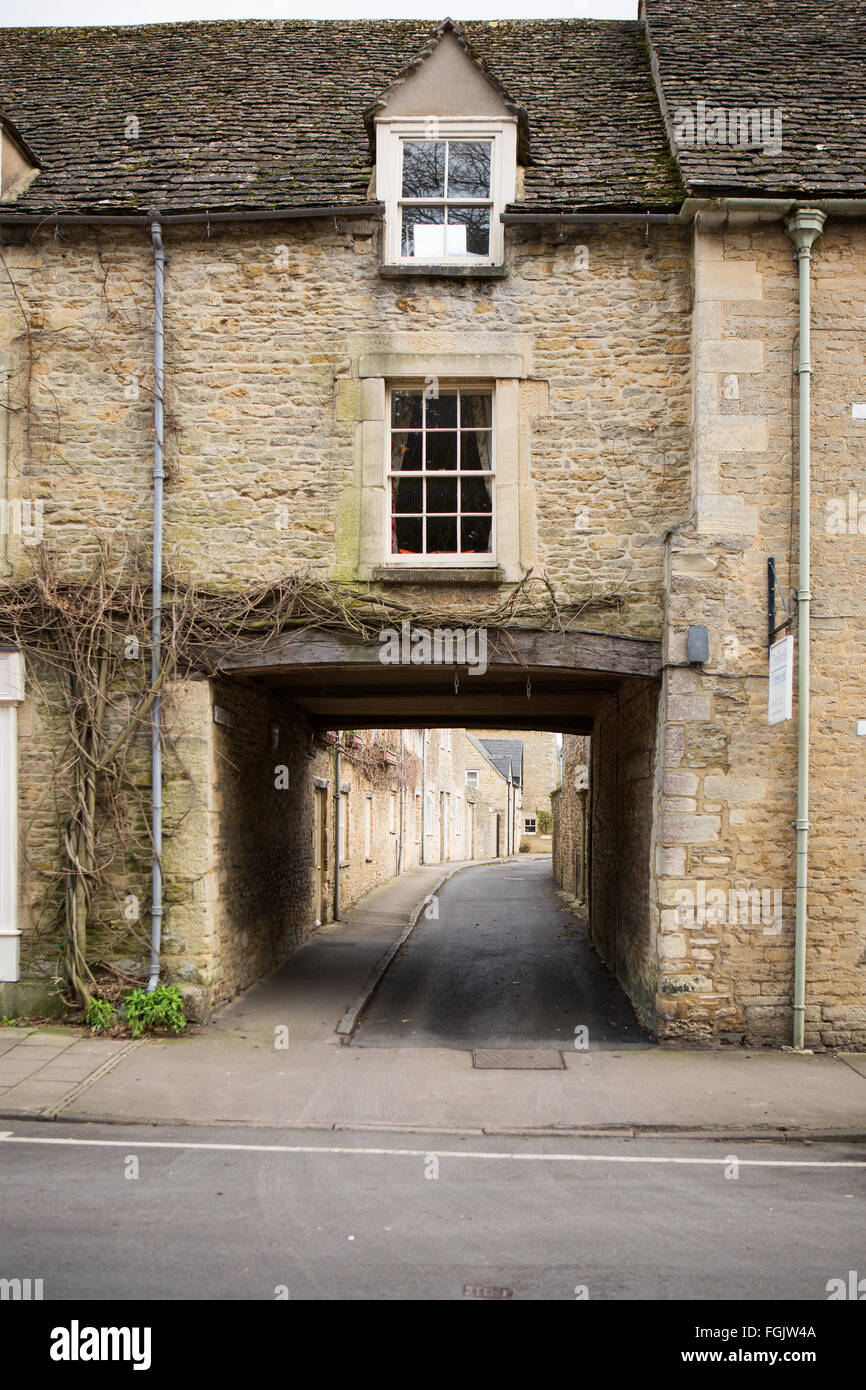 Croft Lane Fairford Town Center, Gloucestershire, UK - Stock Image