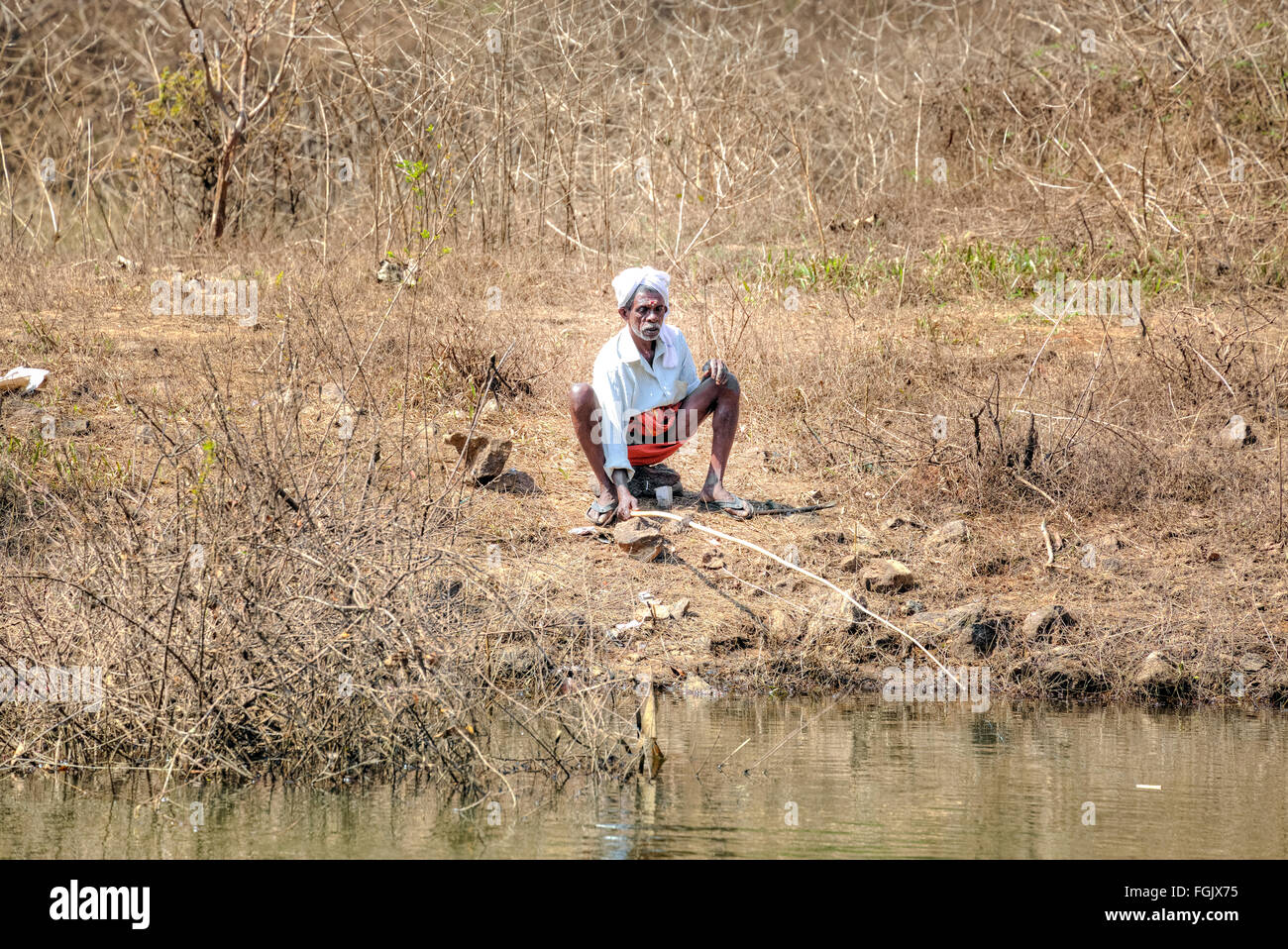 fisher man in the river of Periyar, Kerala, South India, Asia - Stock Image