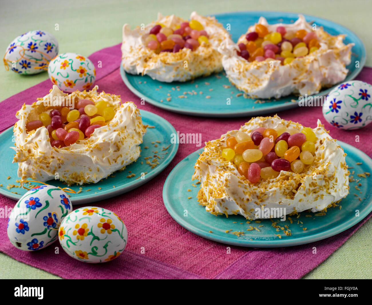 Coconut meringue nests Stock Photo