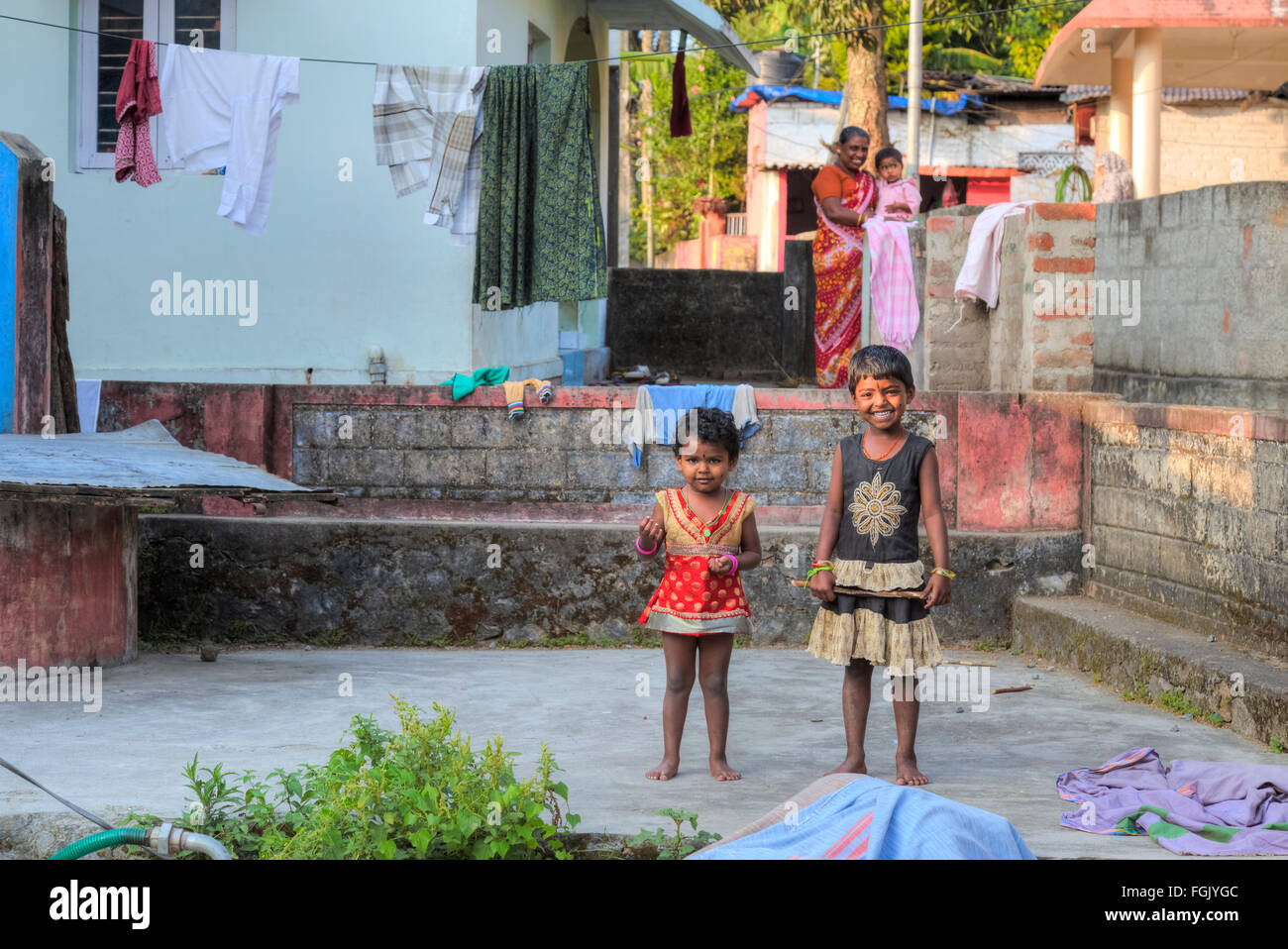 rural life in Thekkady, Periyar, Kerala, South India Stock Photo