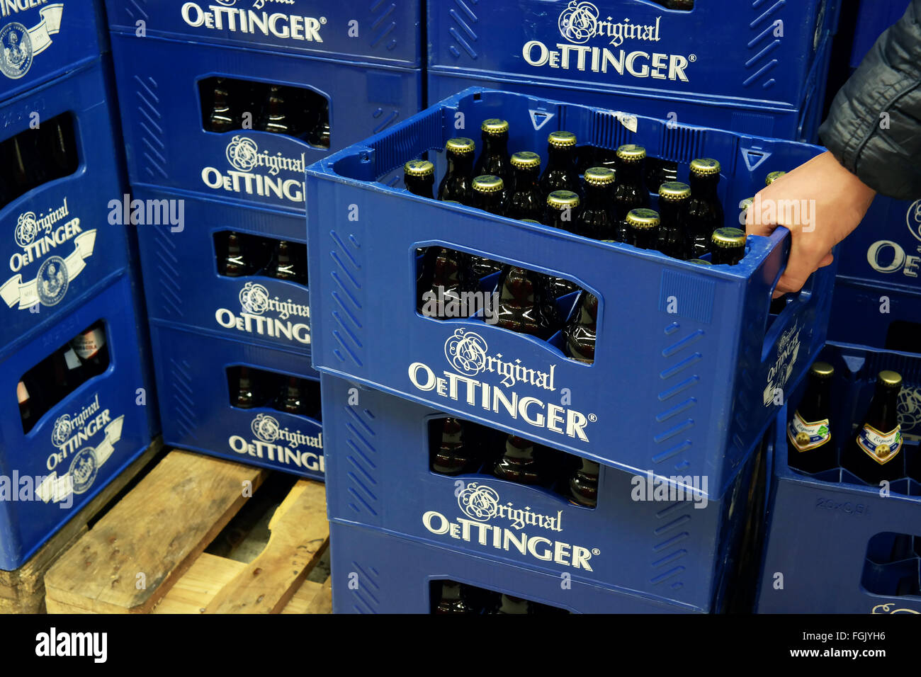 Stack of Oettinger beer crates in a Kaufland Hypermarket. - Stock Image