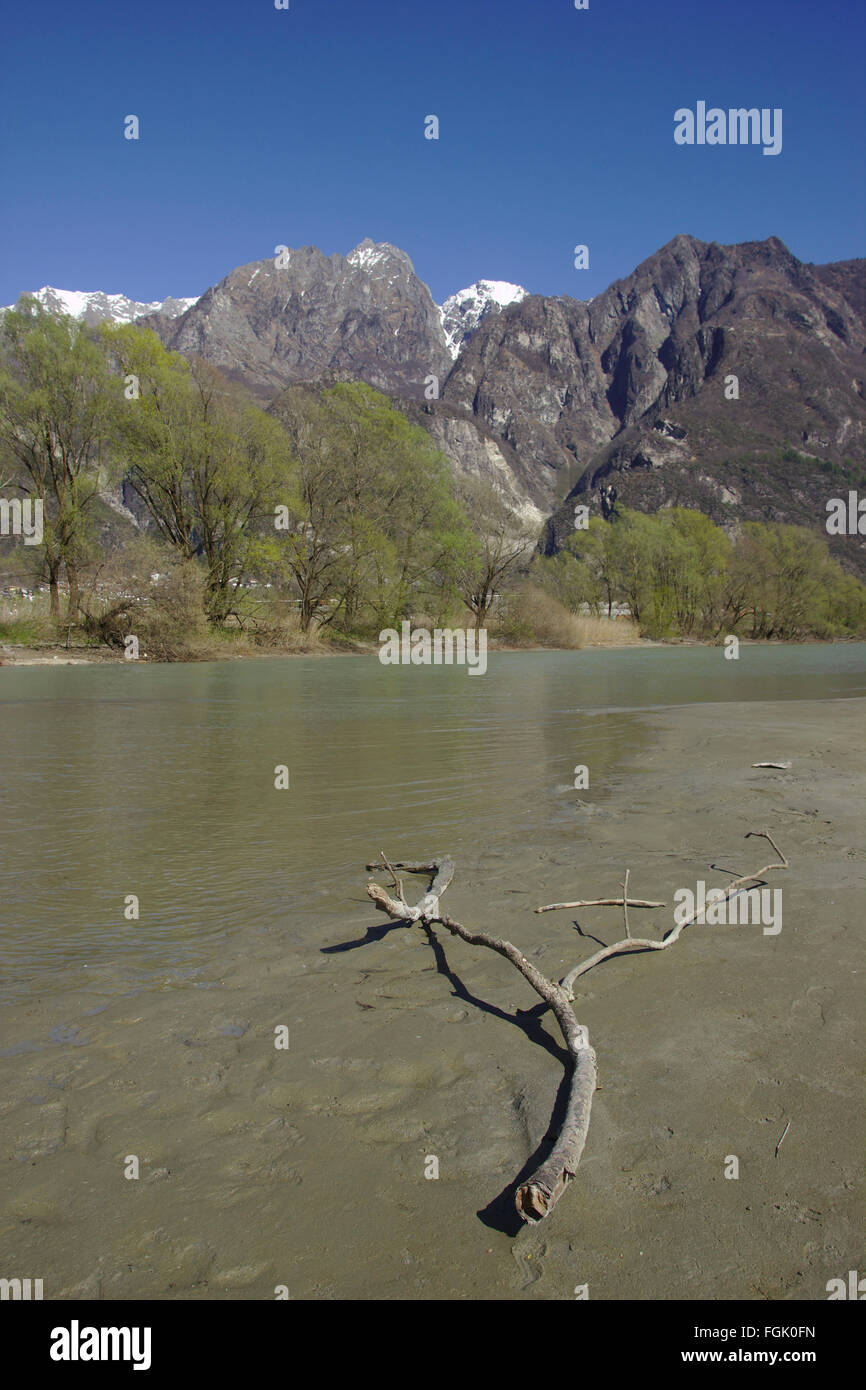 Branch in the Mera river at San Fedelino church, north of Como Lake, Italy Stock Photo
