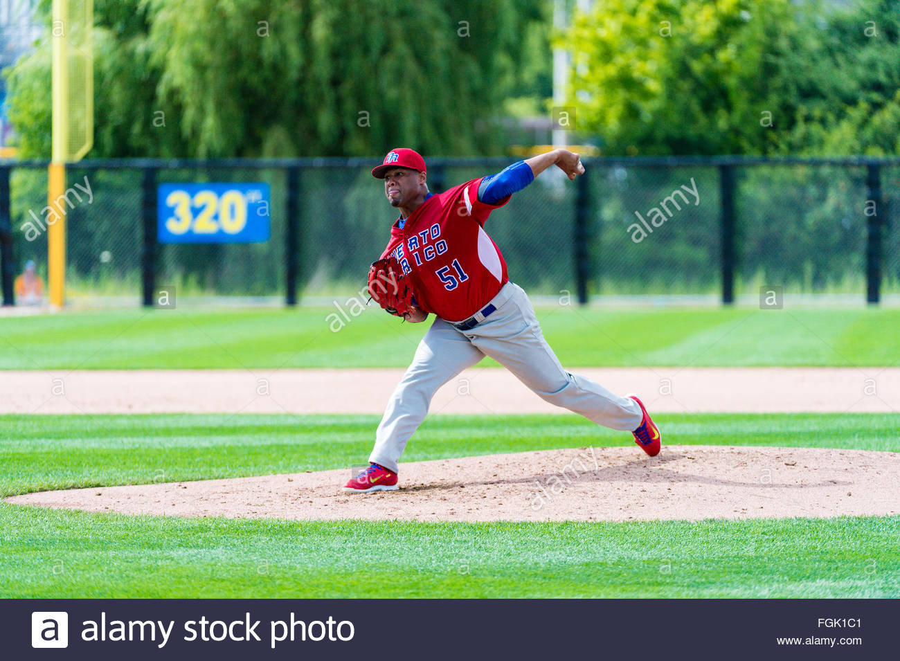Various movements and grips of a baseball Puerto Rico pitcher during the Toronto Panam or Panamerican games. - Stock Image