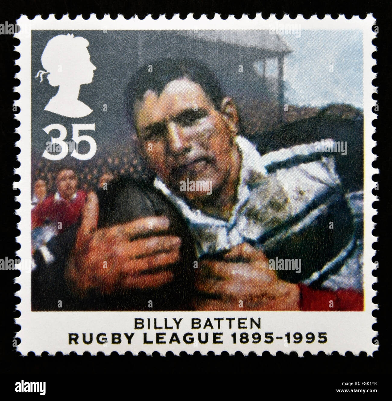 Postage stamp. Great Britain. Queen Elizabeth II. 1995. Centenary of Rugby League. 1895-1995. Billy Batten. 35p. Stock Photo