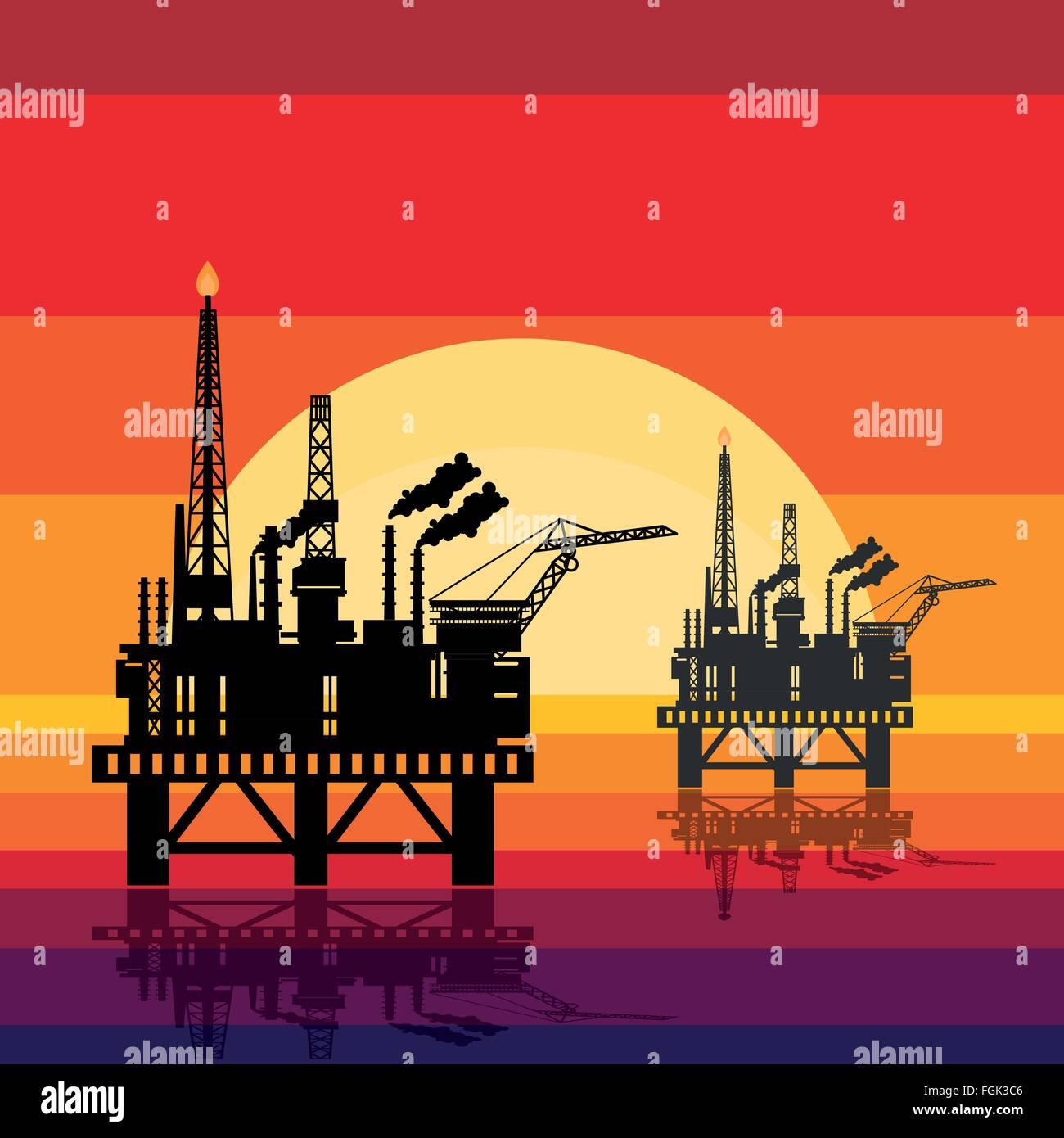 Offshore oil platform design concept set with petroleum. Helipad, cranes, derrick, hull column, lifeboat, workshop, - Stock Vector