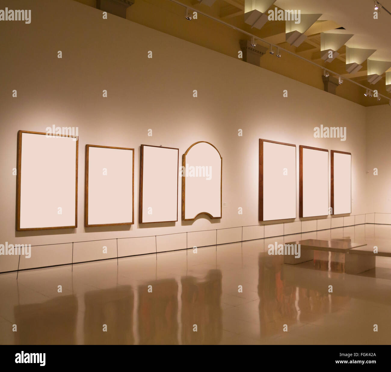 Blank frames in a wall, exhibition gallery indoor - Stock Image