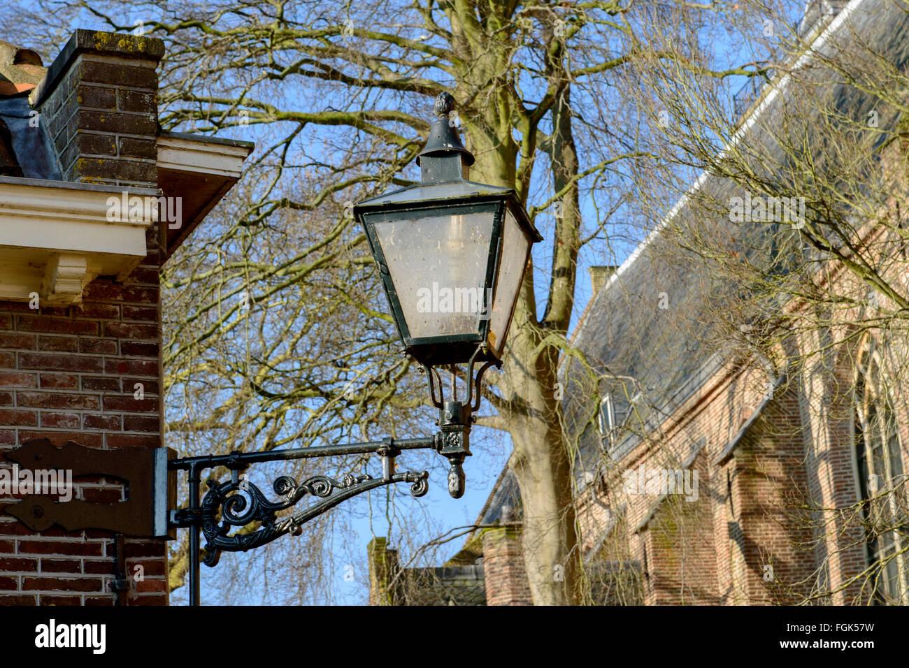 Old style street light, Edam, Netherlands - Stock Image