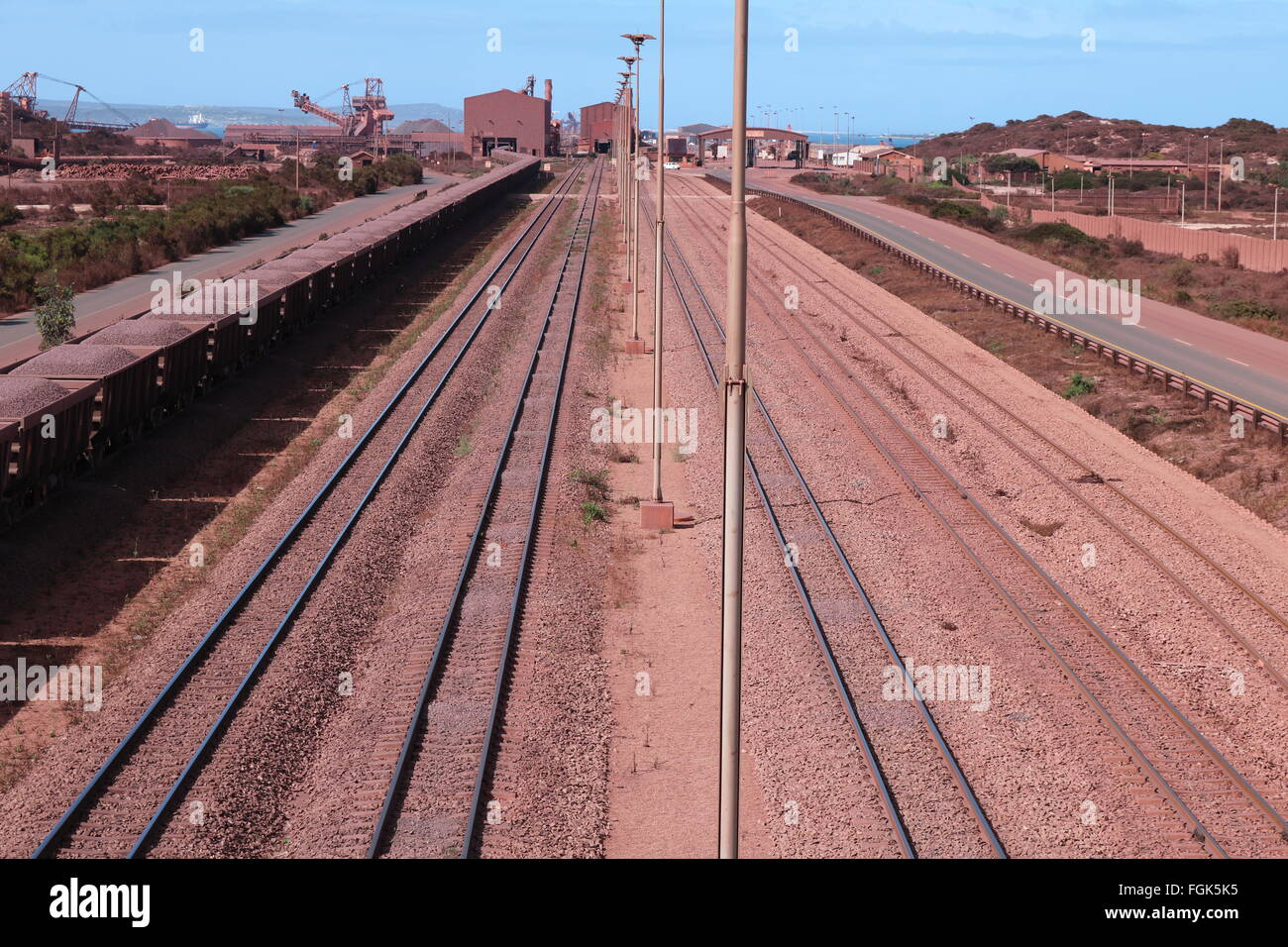 Railway lines at iron ore terminal, Saldanha Bay, Western Cape, South Africa - Stock Image