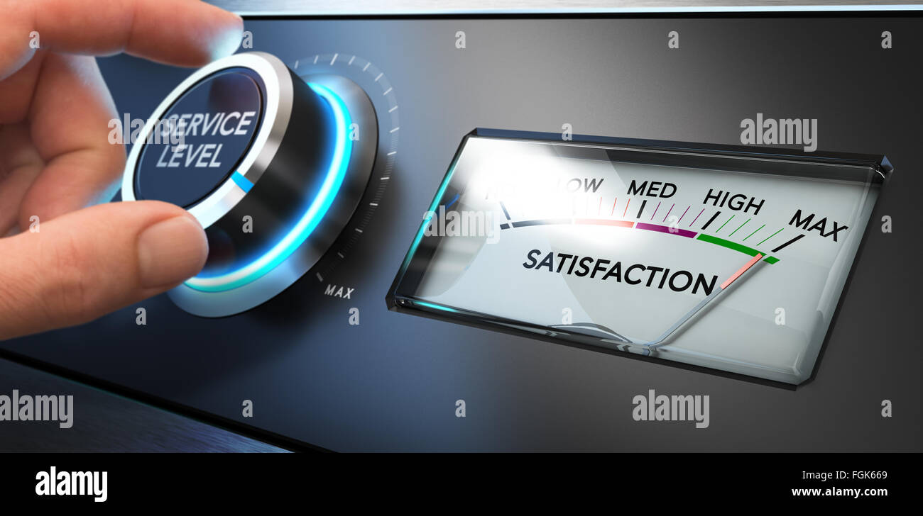 Hand turning a service level knob up to the maximum with a dial where it is written the word satisfaction. Concept - Stock Image