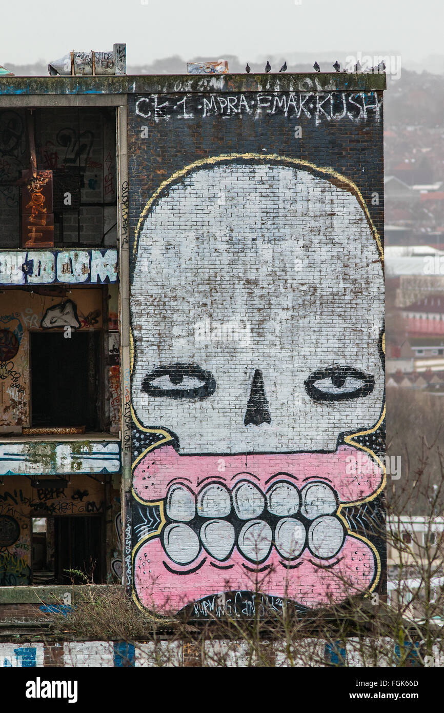 Graffiti on the side of a building in Stokes Croft, Bristol - Stock Image