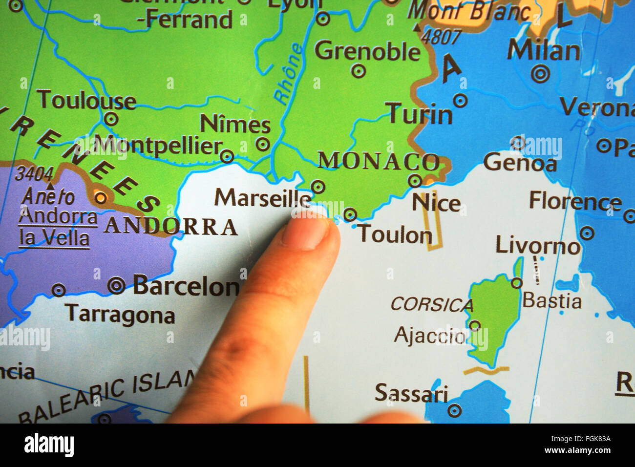Map Of South Of France And Monaco.Illustration Travel Holiday French France Coast Stock Photos