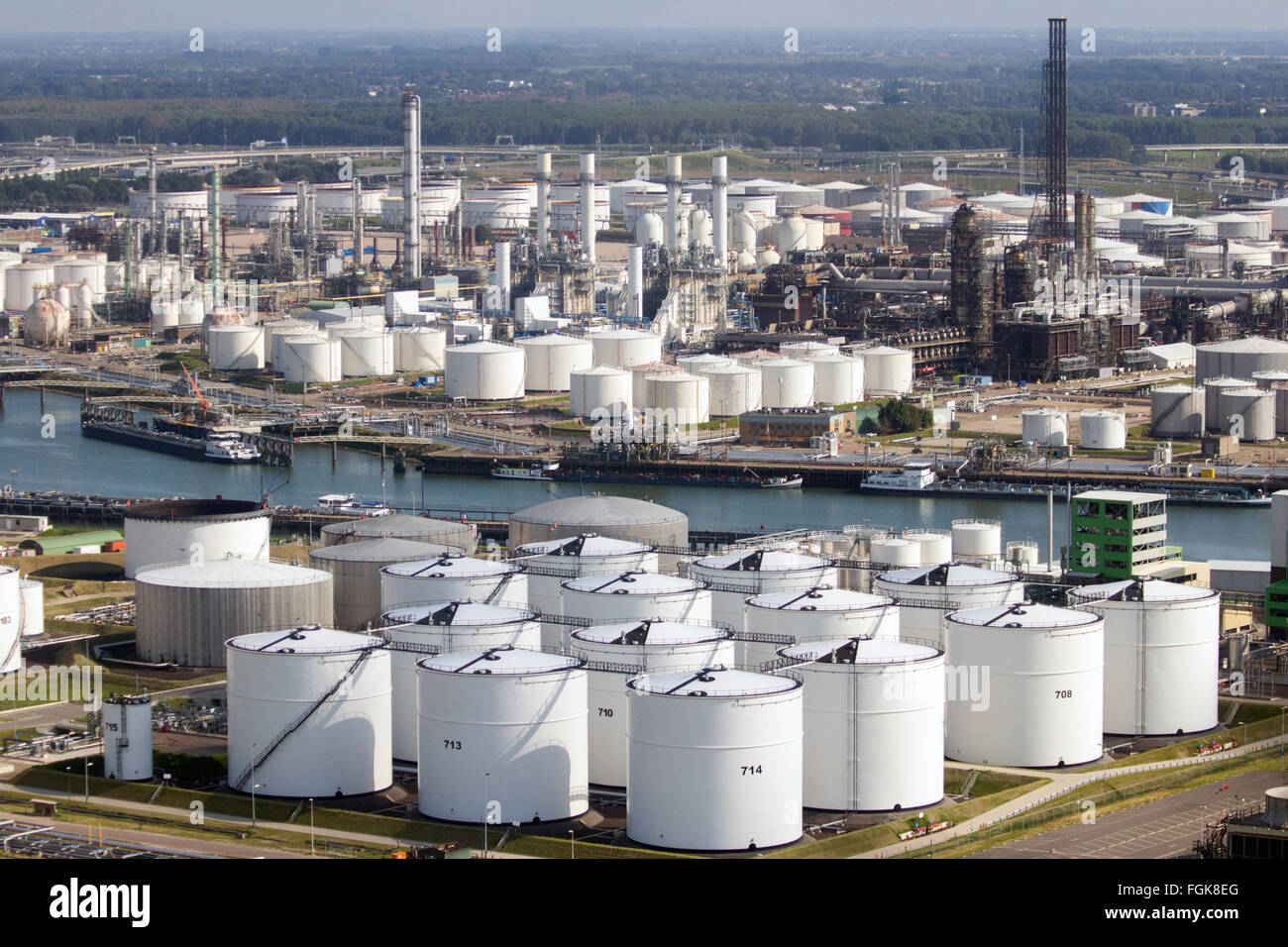 Oil storage tanks on in the Port of Rotterdam  The port is