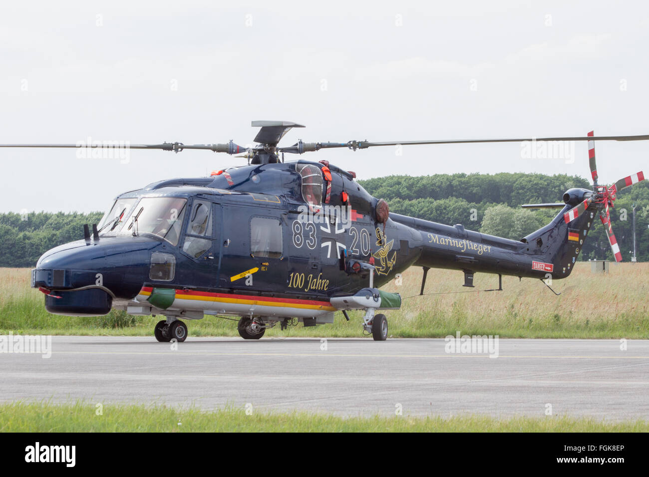 German Navy Sea Lynx helicopter on display at the Dutch Air Force Open Days. - Stock Image