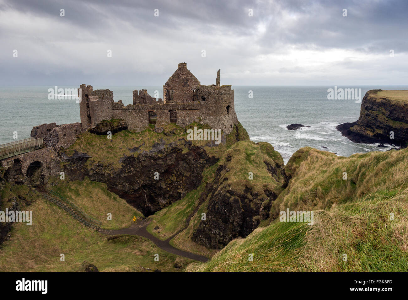 Dunluce castle ruins in Northern Ireland - Stock Image