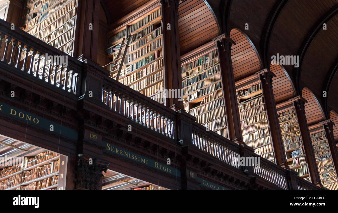 The Long Room library in the Trinity College. Trinity College Library is the largest library in Ireland Stock Photo