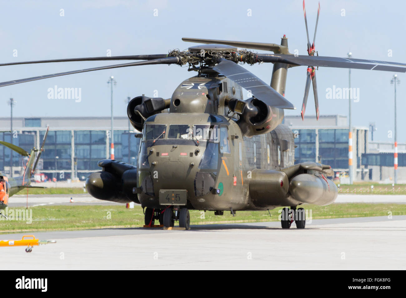 German army Sikorsky CH-53 transport helicopter at the International Aerospace Exhibition ILA. - Stock Image
