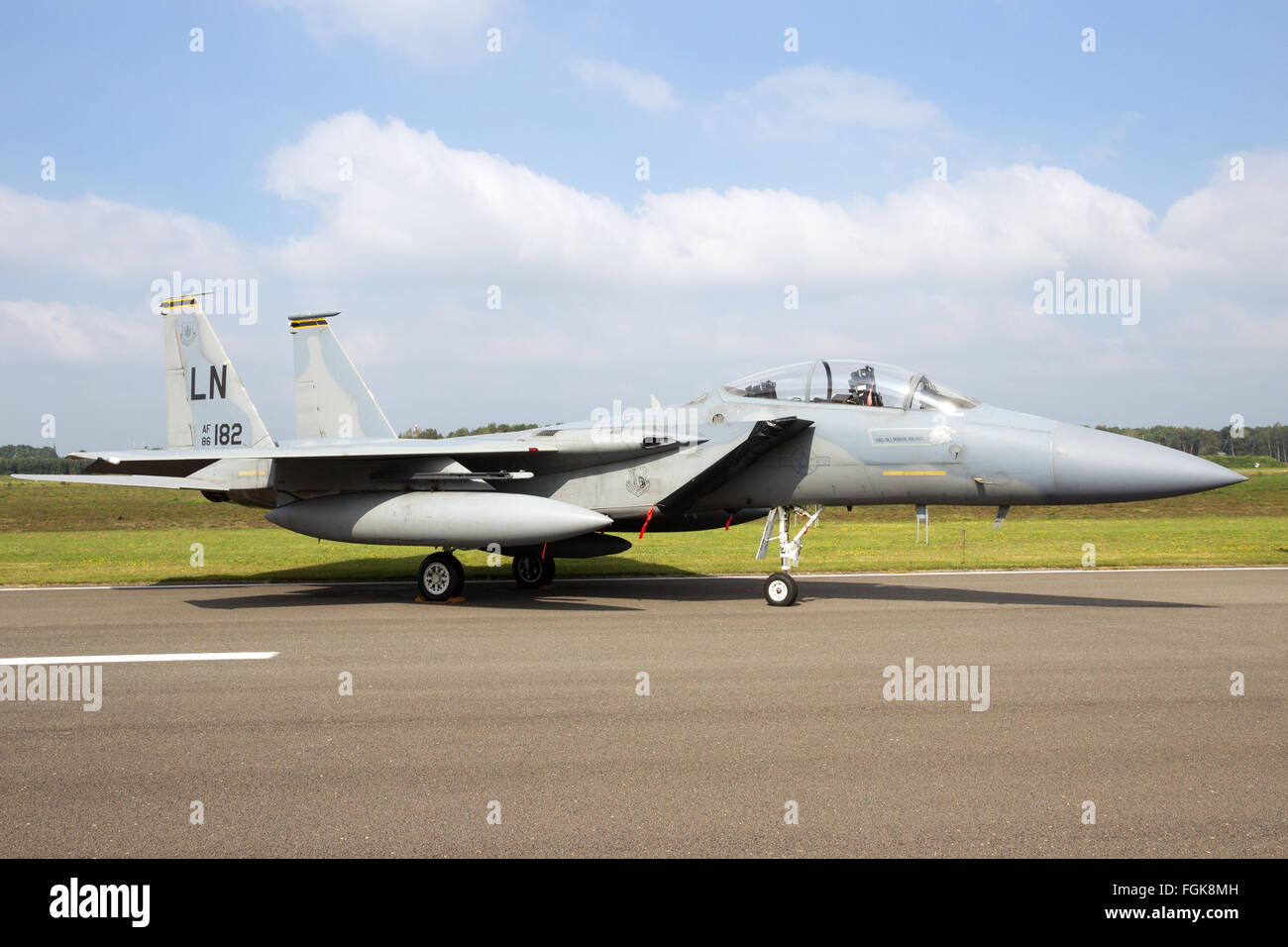 US Air Force F-15 Eagle fighter jet from RAF Lakenheath on the tarmac of Kleine Brogel Ai - Stock Image