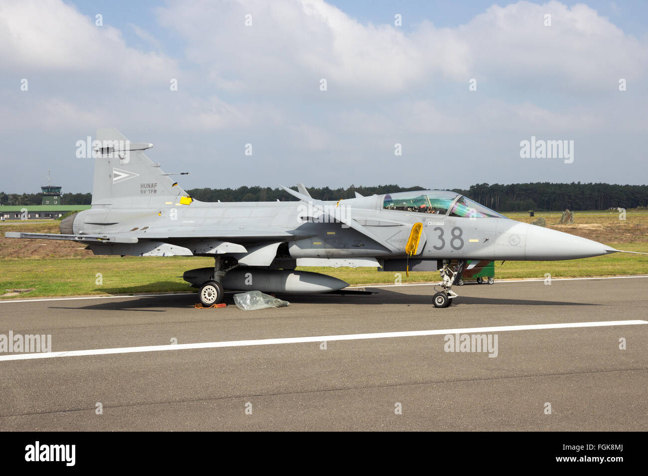 Hungarian Air Force SAAB JAS-39 Gripen fighter jet on the tarmac of Kleine Brogel Airbase - Stock Image