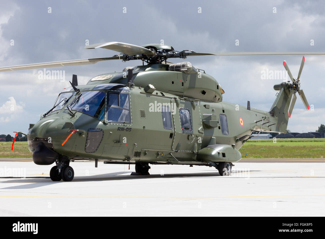 New Belgian army NH90 helicopter on it's homebase Beauvecahin airbase. The first helico - Stock Image