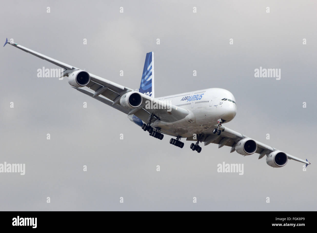 Airbus A380 turning to land at the 51st International Paris Air show. - Stock Image