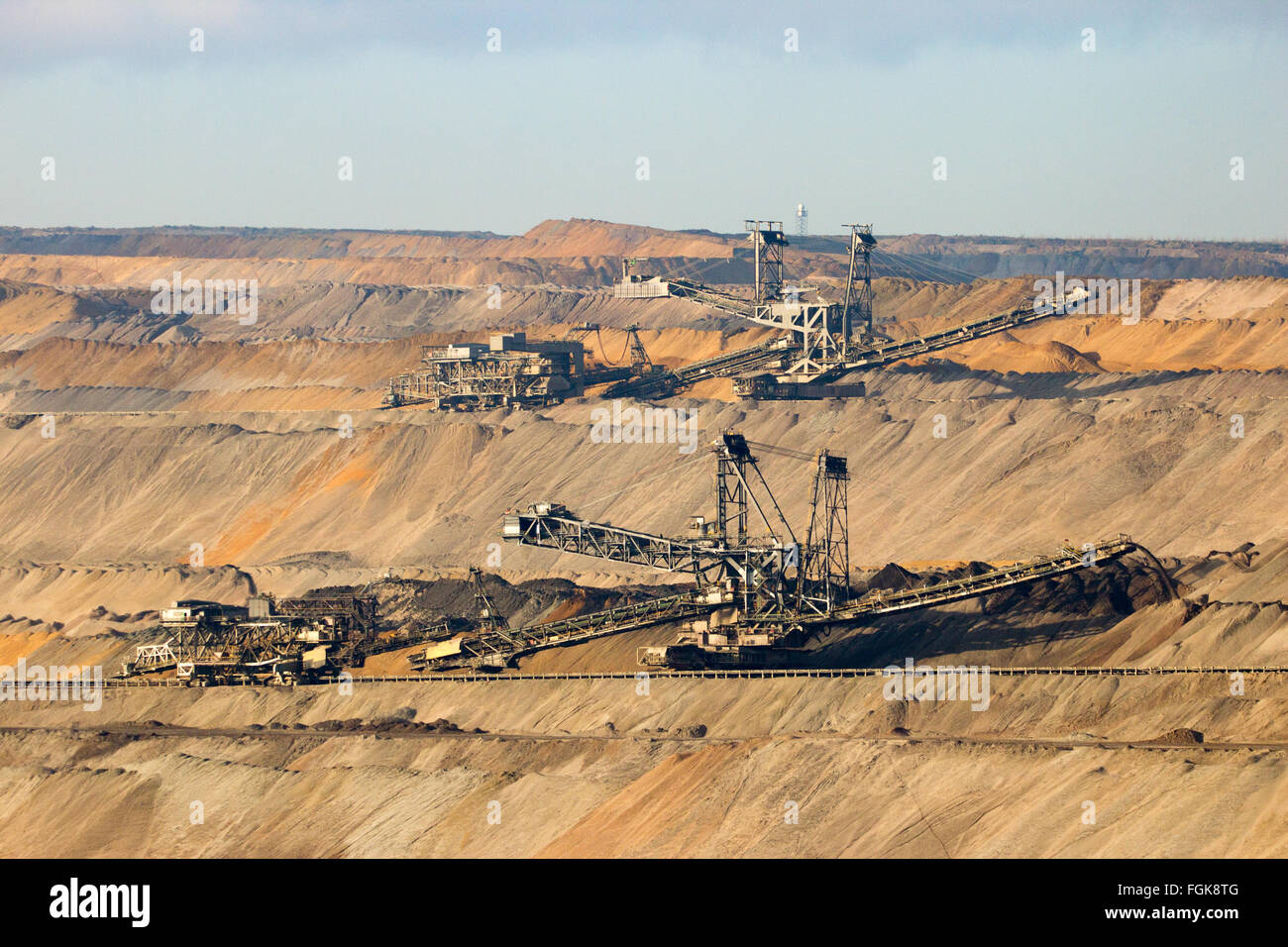 Brown coal open pit mine Stock Photo