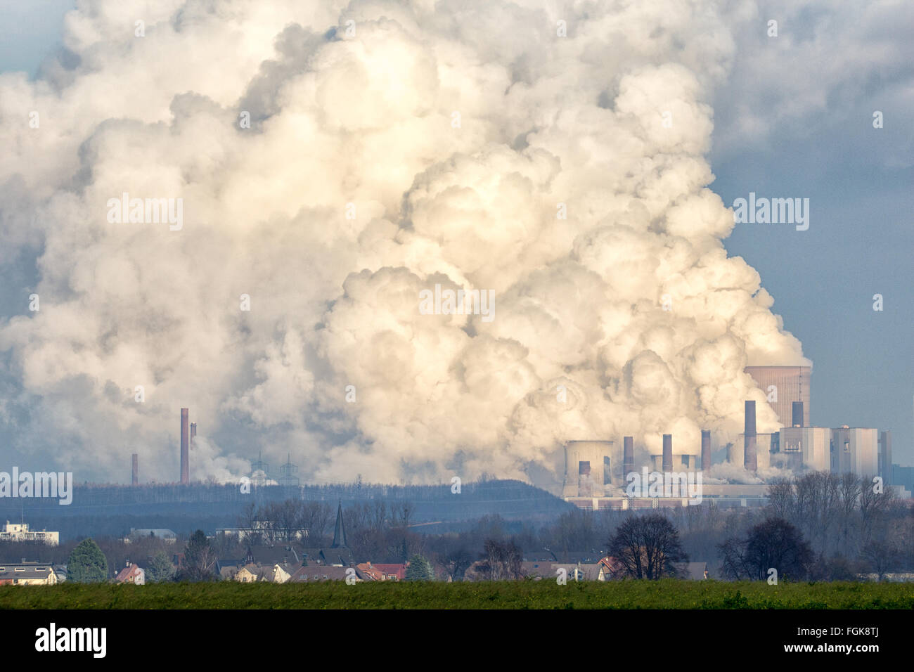 Brown coal power plant emission. - Stock Image