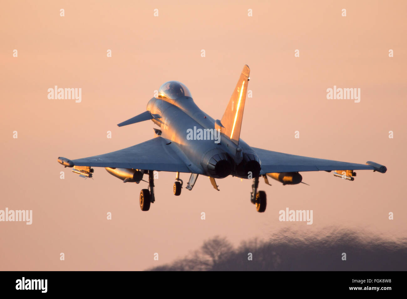 German Air Force Eurofighter Typhoon multirole fighter jet from Tactical Wing 31 landing on it - Stock Image