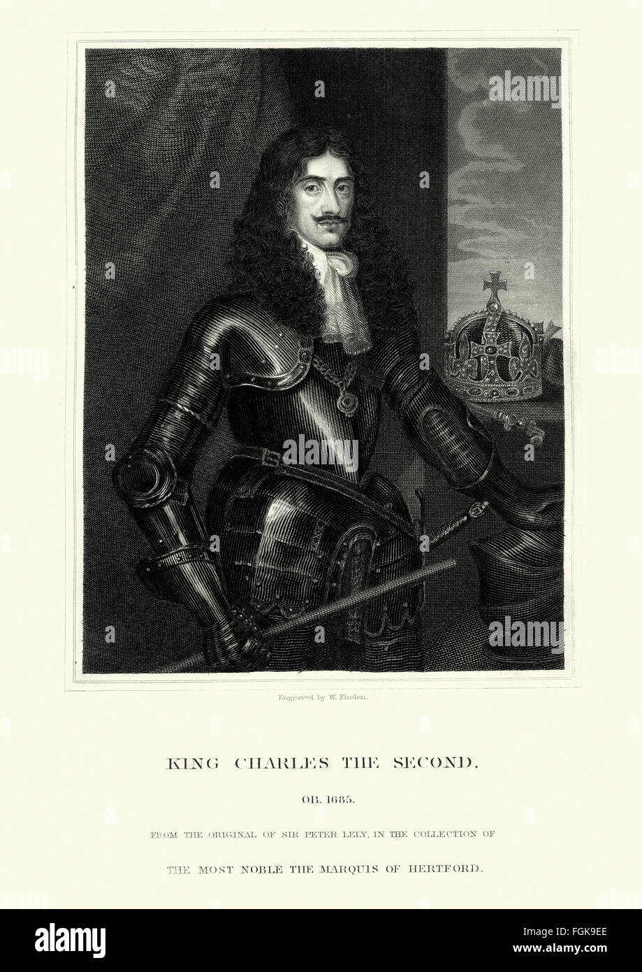 Portrait of King Charles II of England. Charles was popularly known as the Merry Monarch, in reference to both the - Stock Image