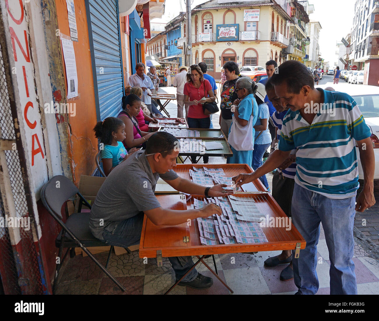Panama city people selling buying lottery tickets - Stock Image