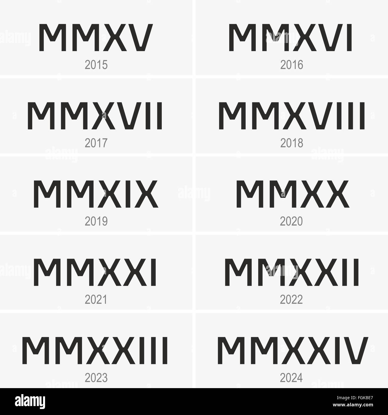 Years from 2015 to 2024 written in Roman numerals - Stock Image
