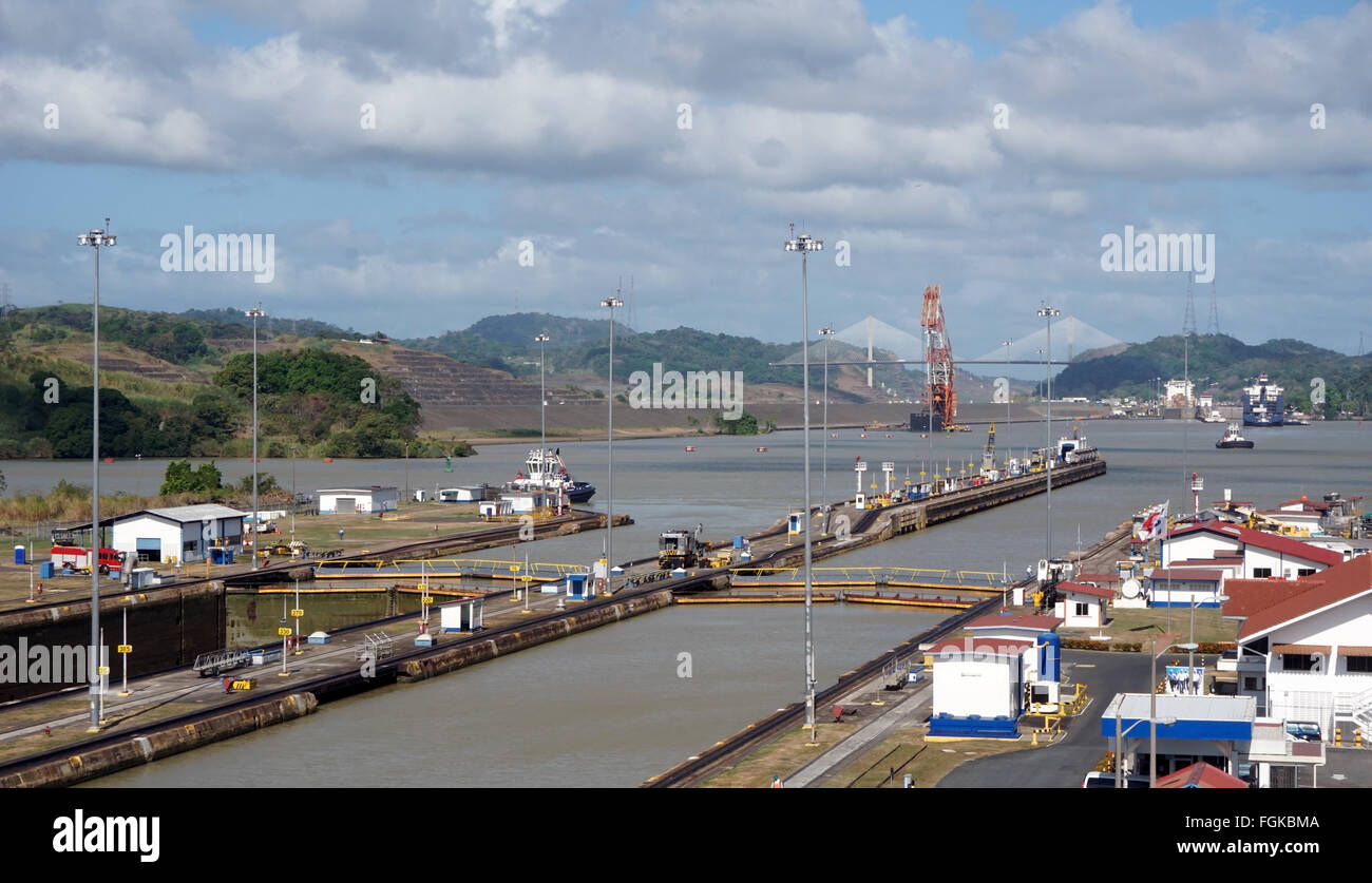 Centennial bridge and the Panama canal Miraflores locks - Stock Image