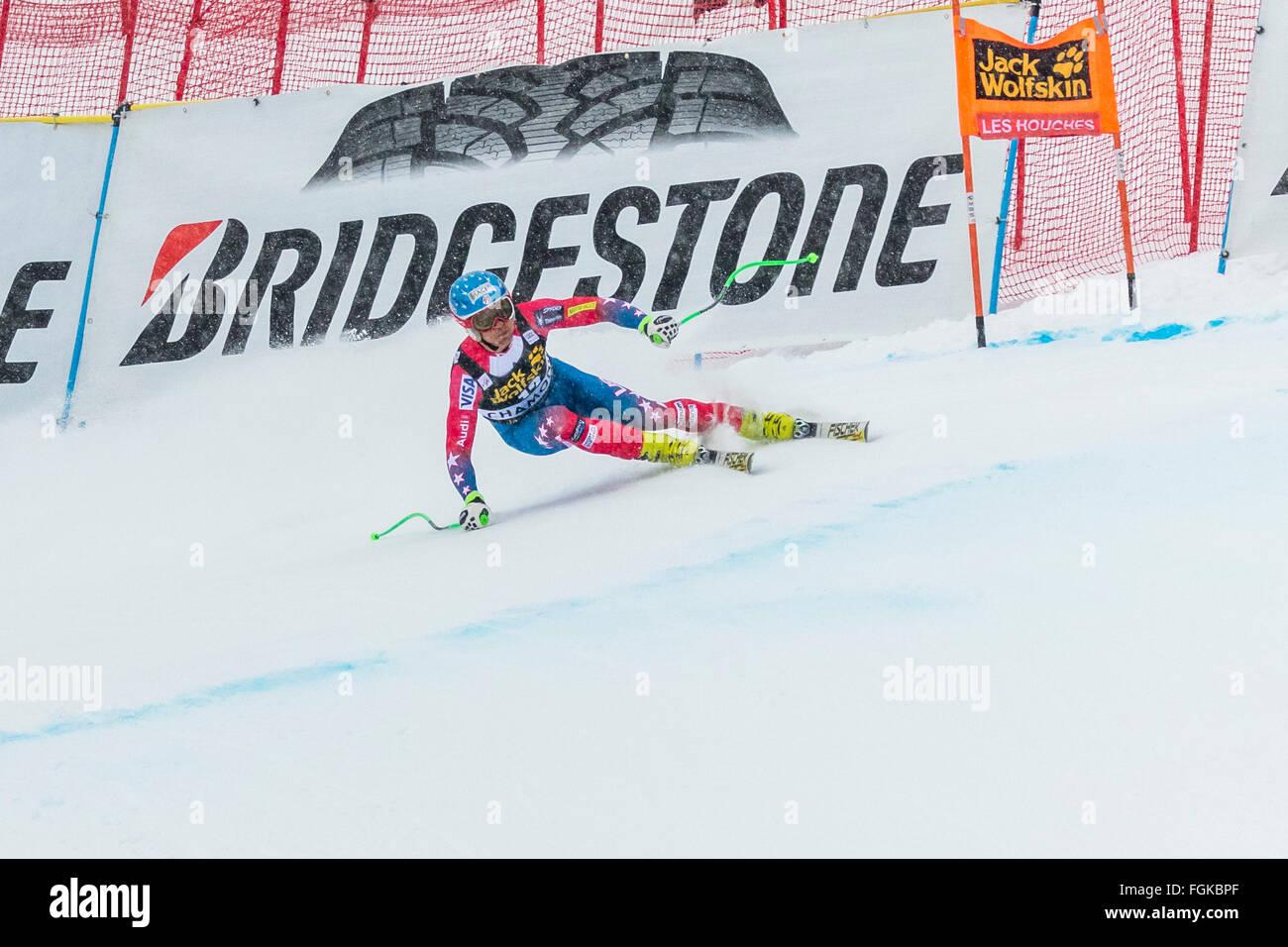 Chamonix, France. 20th February, 2016. USA ski team member Steven NYMAN skied to podium at 2nd place. The Audi FIS - Stock Image