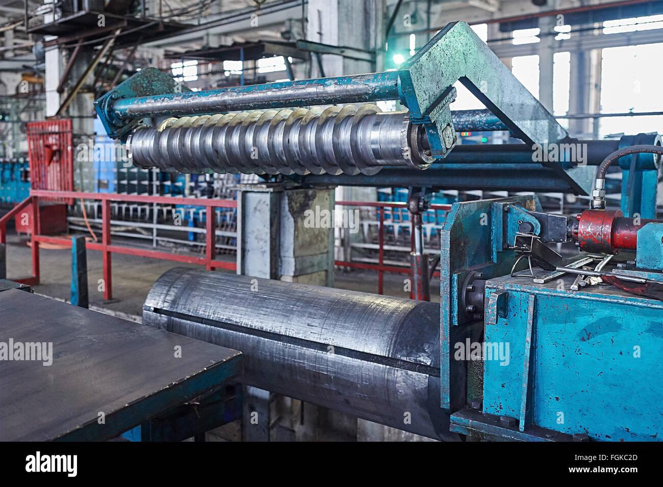 machine for slitting steel sheet - Stock Image
